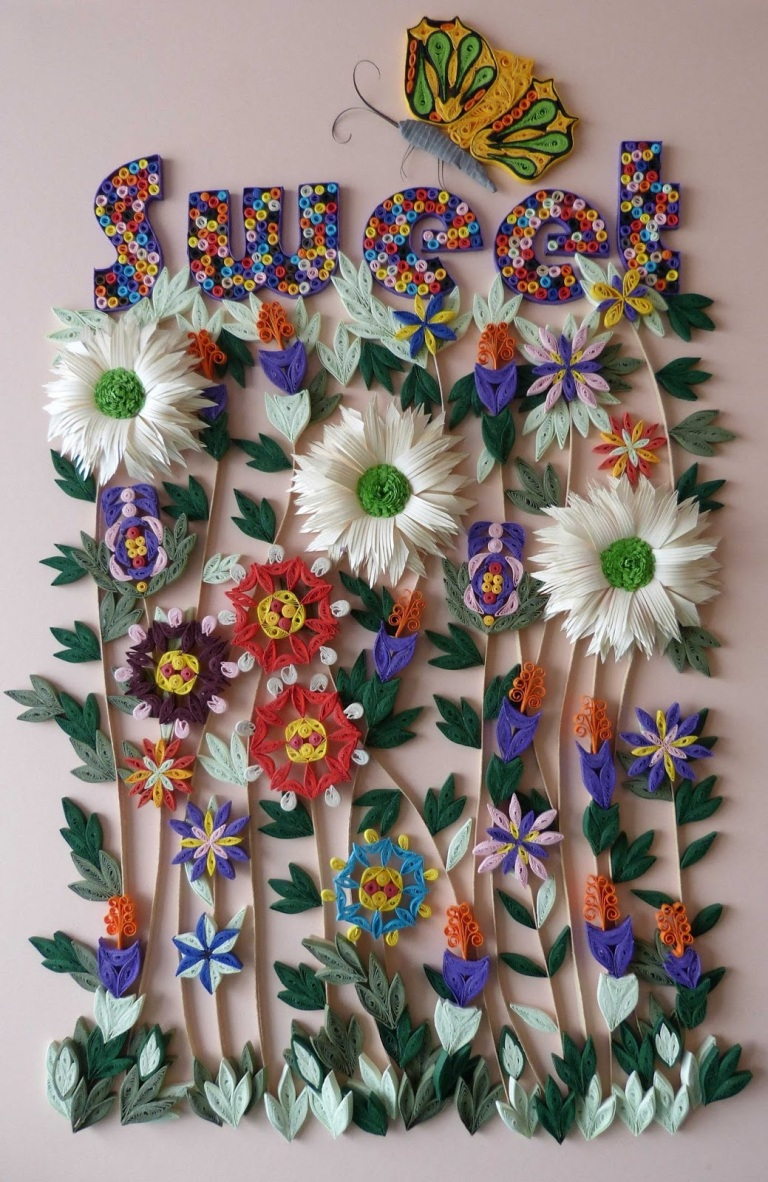 Glazed work with multiple 'folly flowers' to decorate a girl's room
